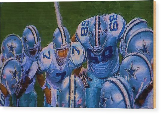 Cowboy Huddle Wood Print
