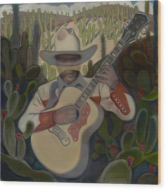 Cowboy In The Cactus Wood Print
