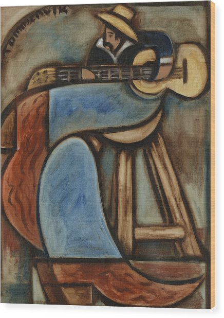Cowboy Playing Guitar In  Albuquerque New Mexico Art Print Wood Print