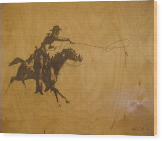 Cowboy Wood Print by Robert Cunningham
