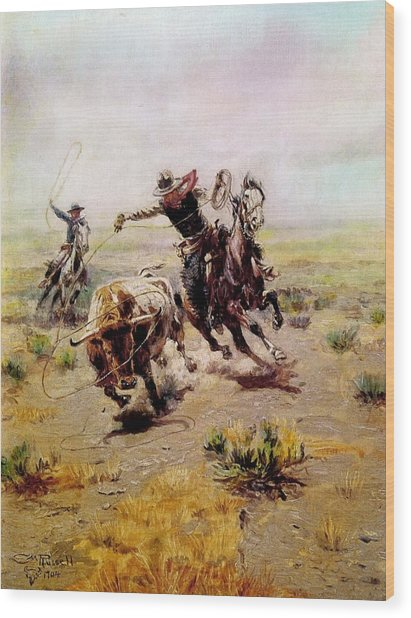 Cowboy Roping A Steer Wood Print