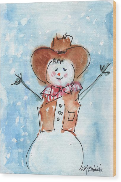 Cowboy Snowman Watercolor Painting By Kmcelwaine Wood Print