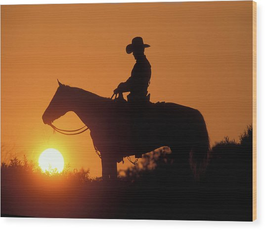 Cowboy Sunset Silhouette Wood Print