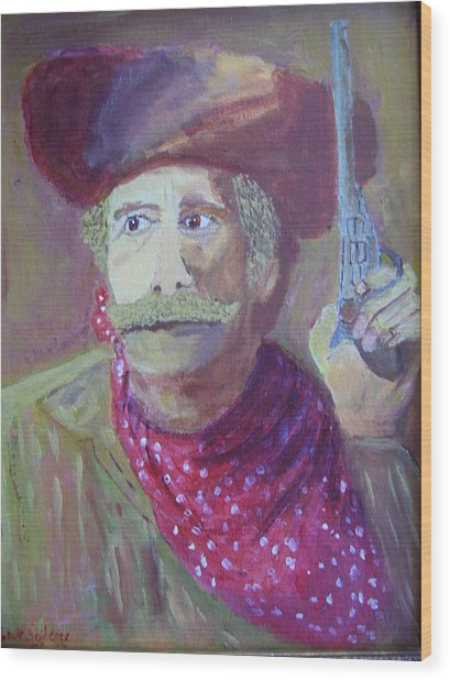 Cowboy With A Gun Wood Print