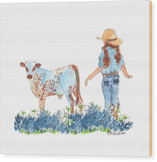 Cowgirl Calf In The Bluebonnets Pe005 Wood Print