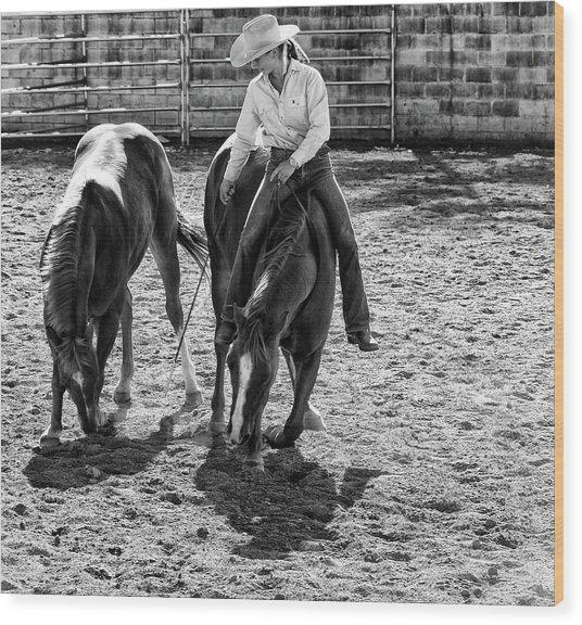 Cowgirl Wood Print by DJ Tonie