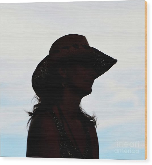Cowgirl In The Sky Wood Print