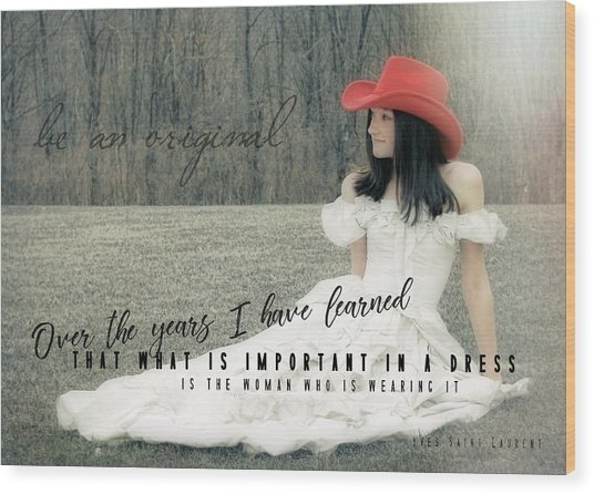 Cowgirl Red Quote Wood Print by JAMART Photography
