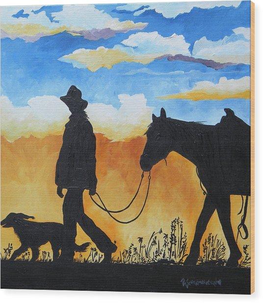 Cowgirl Sunset Wood Print