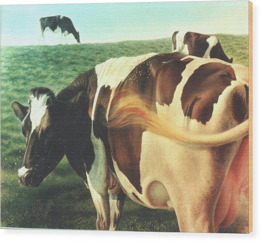 Cows 2 Wood Print by Hans Droog