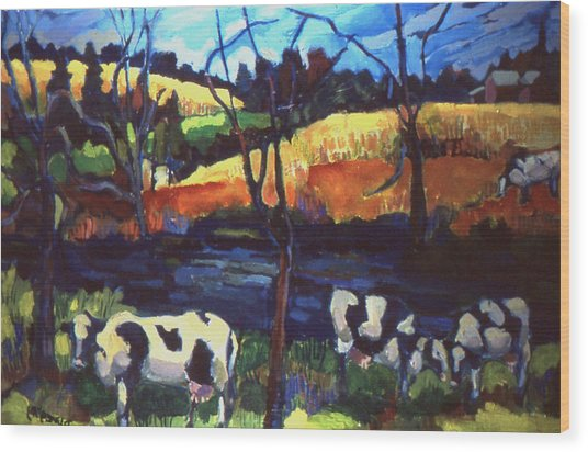 Cows In Landscape Wood Print
