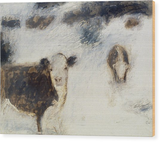 Cows In Snow Wood Print by Ruth Sharton