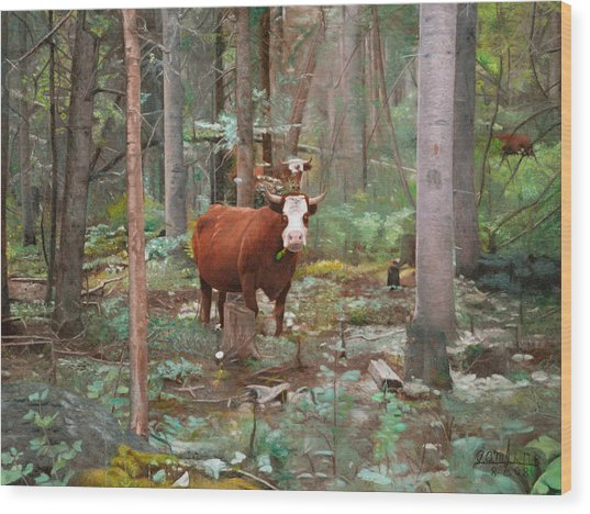 Cows In The Woods Wood Print