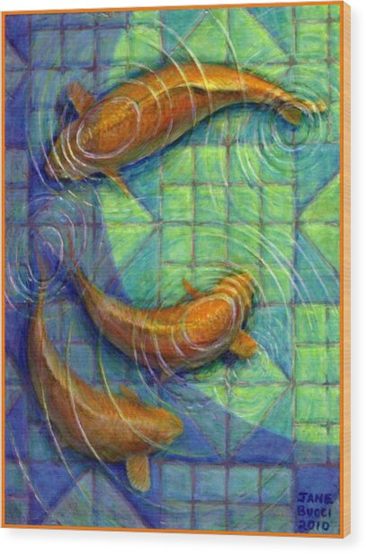 Coy Koi Wood Print by Jane Bucci