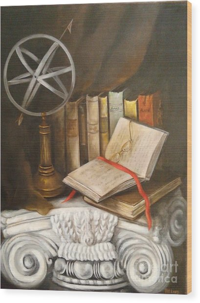 Traveling By Books Wood Print by Patricia Lang