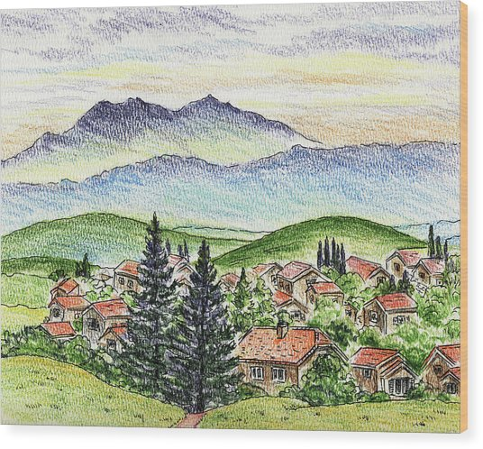 Cozy Little Village In The Mountains Wood Print