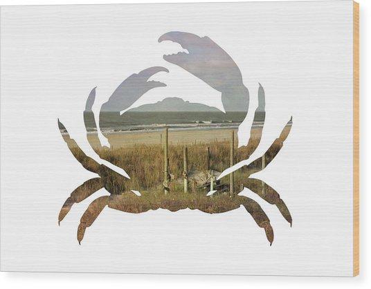 Crab Beach Wood Print