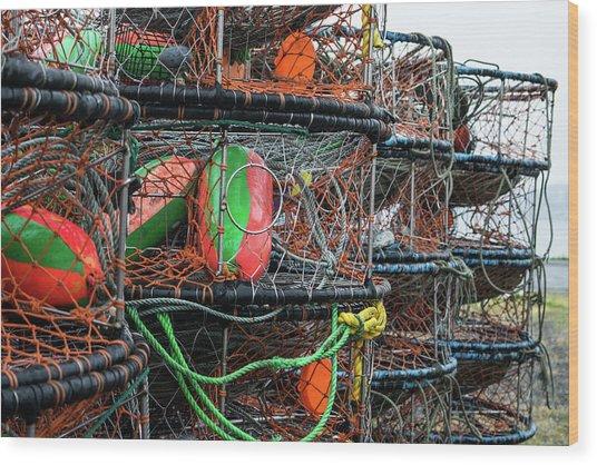 Crab Pots Wood Print