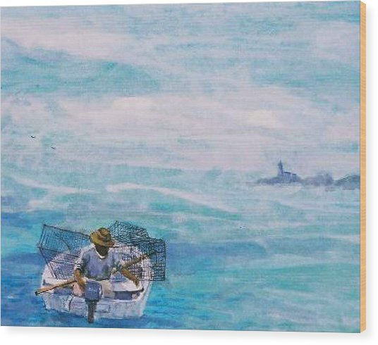 Crab Traps Wood Print by Ruth Mabee