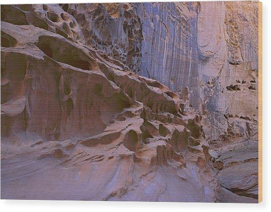 Crack Canyon Blue Wall Wood Print
