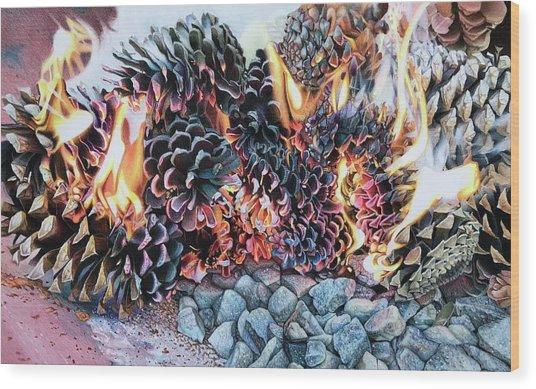 Crack Lin Cones On Quartz  Wood Print