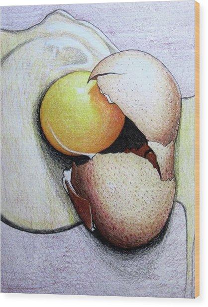 Cracked Egg Wood Print
