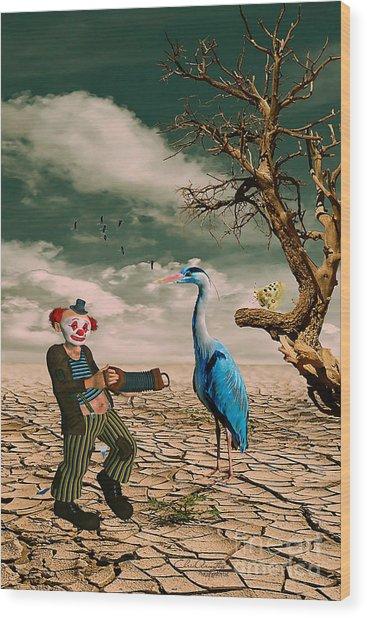 Cracked IIi - The Clown Wood Print