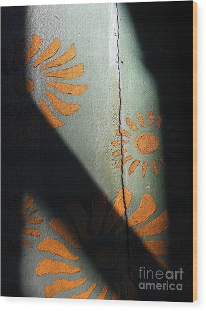 Cracked Wall Wood Print by Maria Scarfone