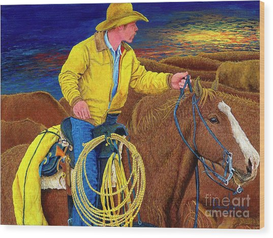 Cracker Cowboy Sunrise Wood Print