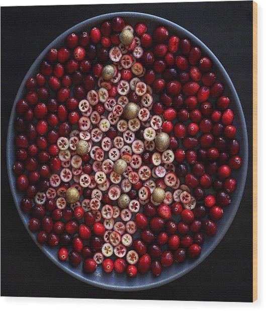 Cranberry Christmas Tree Wood Print