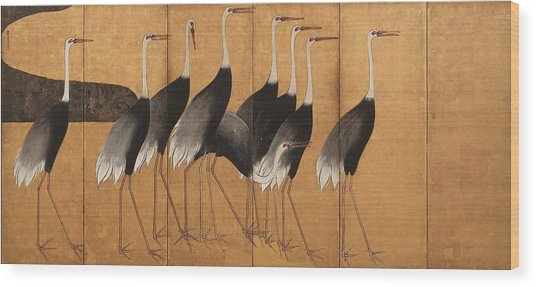 Cranes Wood Print