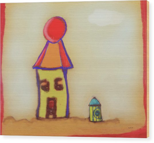Cranky Clown Cabana And Fire Hydrant Wood Print