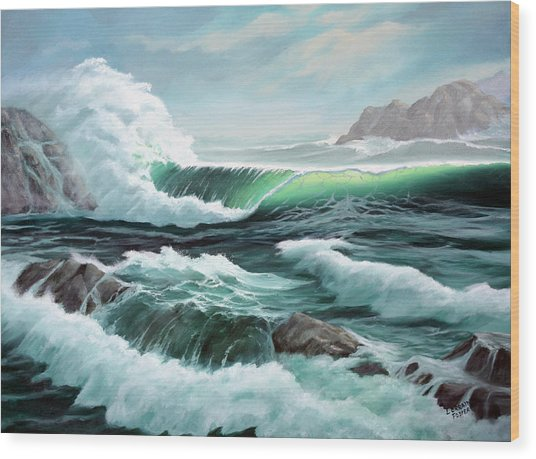 Crashing Waves Wood Print by Lorraine Foster