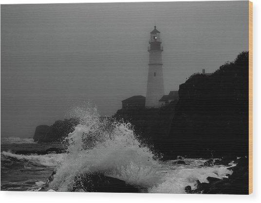 Crashing Waves On A Foggy Morning Wood Print
