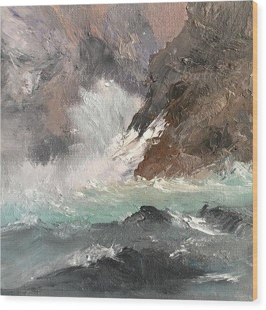 Crashing Waves Seascape Art Wood Print