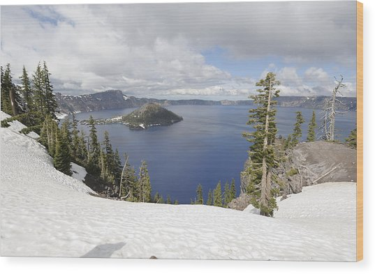 Crater Lake Cloud And Shadow Wood Print