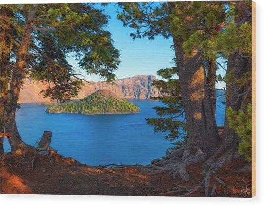 Crater Lake Early Dawn Scenic Views Ix Wood Print