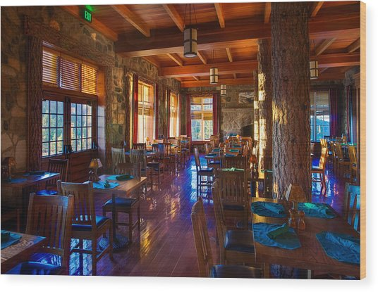 Crater Lake Lodge Dining Room Wood Print