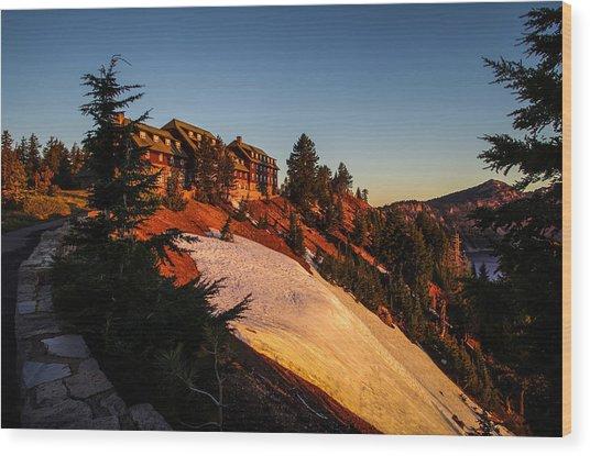 Crater Lake Lodge Sunrise Wood Print