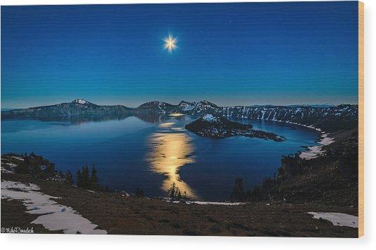 Crater Lake Moonlight Wood Print