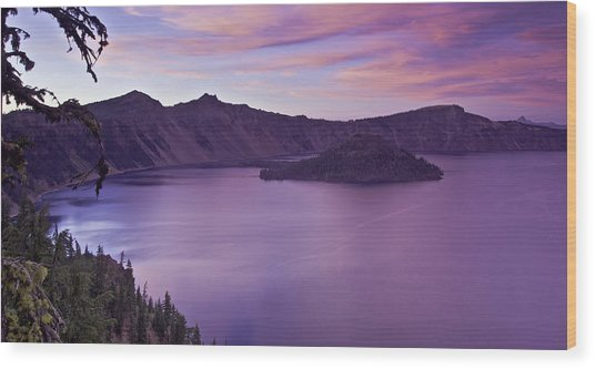 Crater Lake Sunset Wood Print