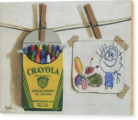 Crayola Crayons And Drawing Realistic Still Life Painting Wood Print