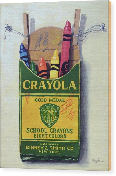 Box Of Crayons Painting Wood Print