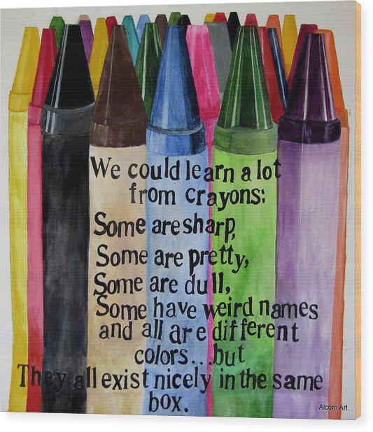 Crayons Wood Print by Brenda Alcorn