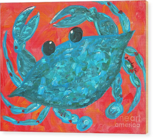 Crazy Blue Crab Wood Print