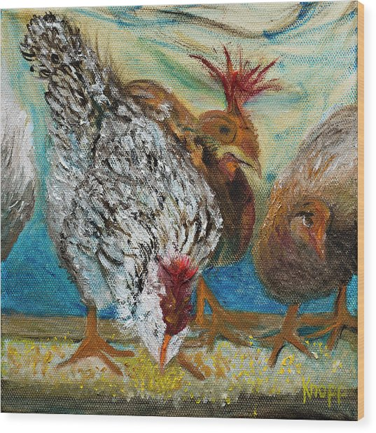 Crazy Chickens Wood Print