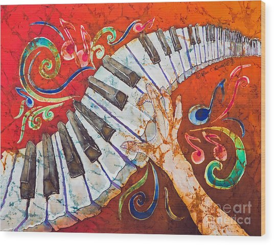 Crazy Fingers - Piano Keyboard  Wood Print