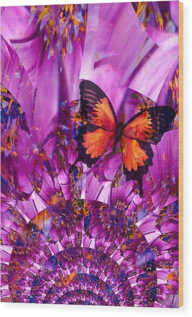 Crazy Flower Butterfly Wood Print