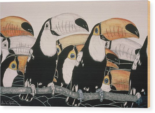 Crazy For Toucans Wood Print