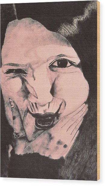 Crazy Girl Wood Print by Beth Parrish